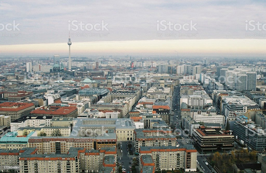 East berlin aerial view stock photo