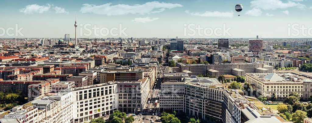 east berlin wide panorama cityscape with television tower stock photo
