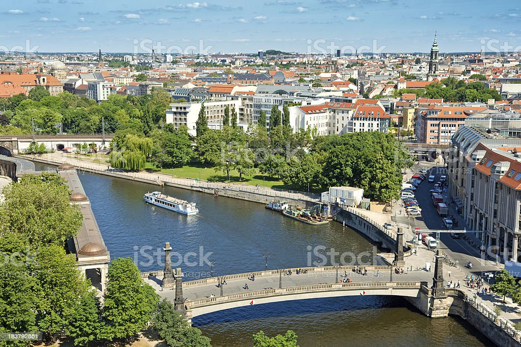 East Berlin with Spree river stock photo