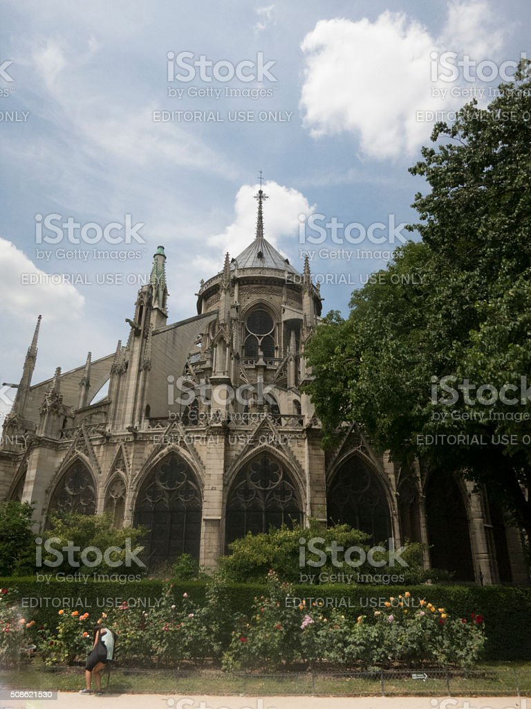East end of Notre Dame de Paris, France stock photo