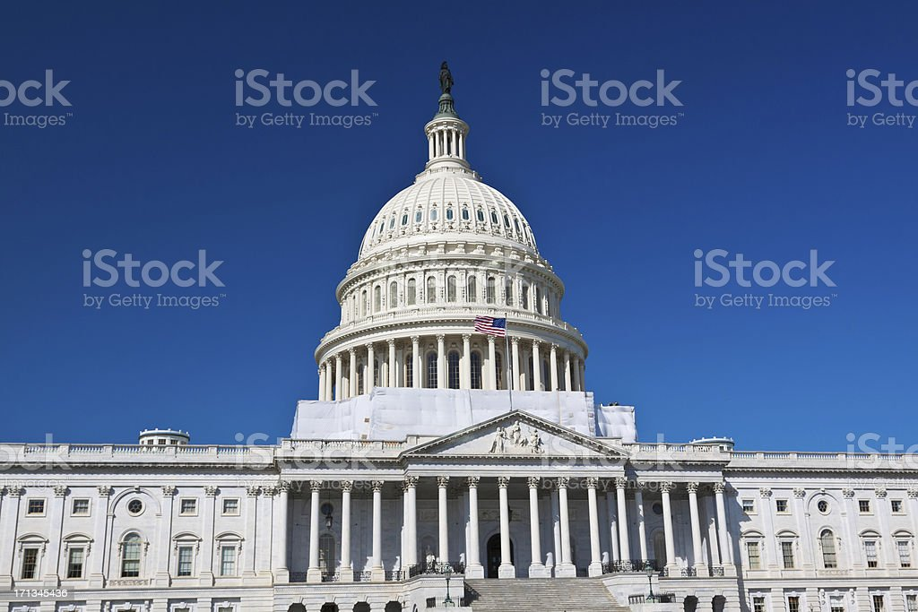 East facade of Capitol Building, Washington DC. Clear blue sky. royalty-free stock photo