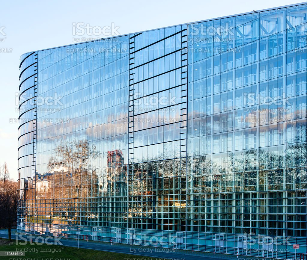 East Facade of the  European Parliament Plenary room in Strasbou stock photo