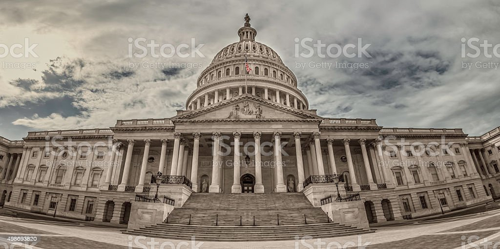 East Facade United States Capitol in Washington, DC at Sunset stock photo