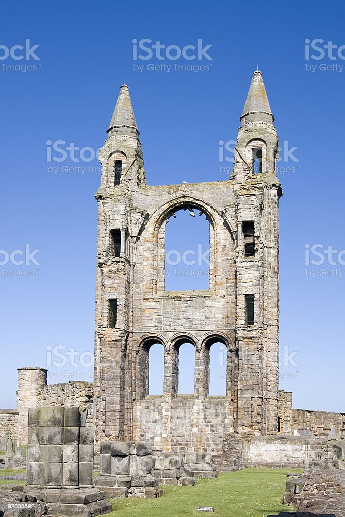 East gable of St Andrews cathedral ruins, Scotland royalty-free stock photo