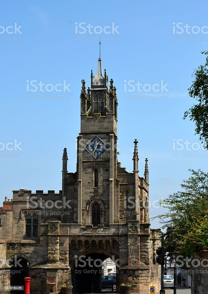 East Gate and Saint Peter's Chapel, Warwick stock photo