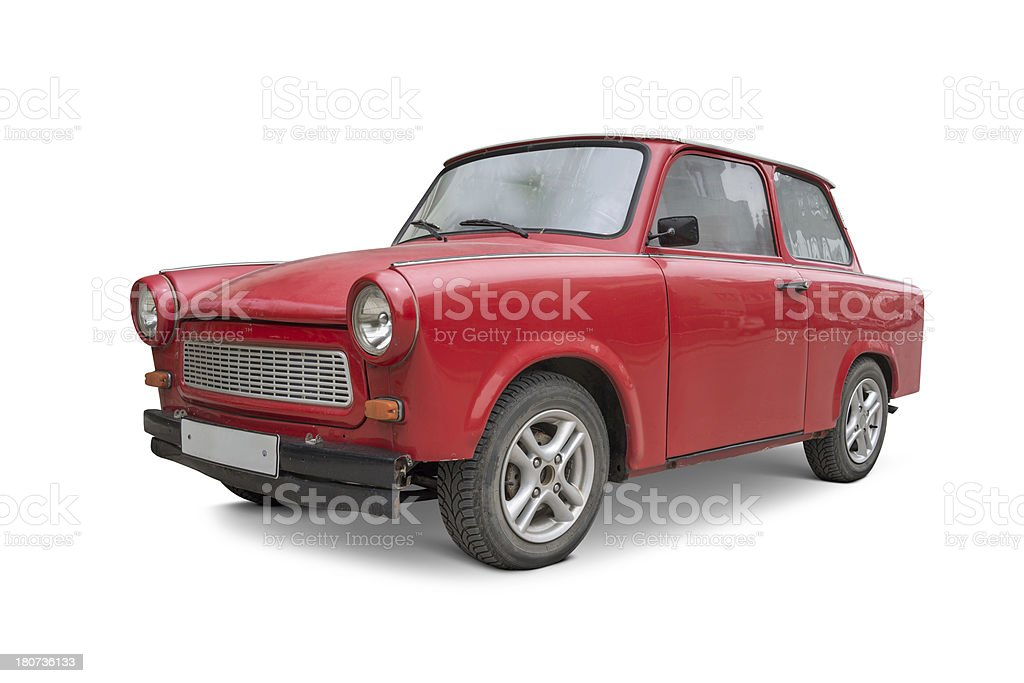 East German red vintage car isolated on white stock photo