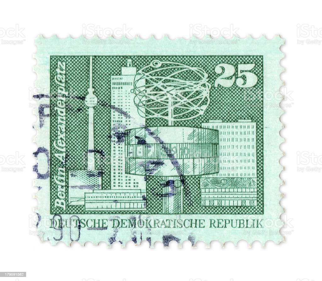 East Germany stamp showing Berlin landmarks, with clipping path royalty-free stock photo