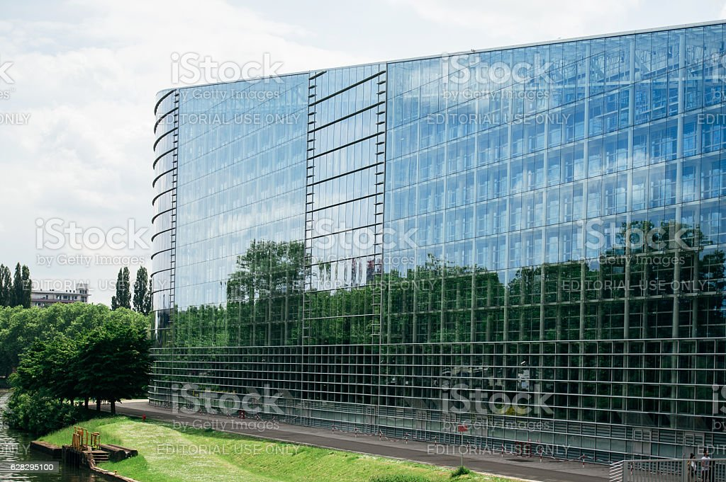 East glass facade of the European Parliament building Strasbourg, France stock photo