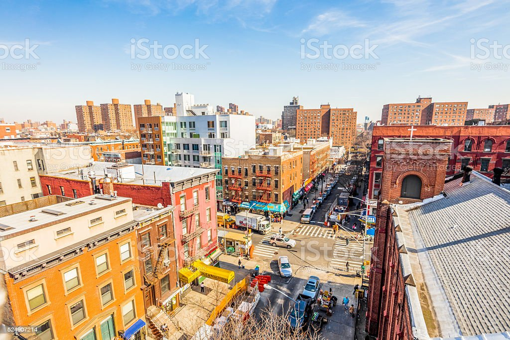 East Harlem from above stock photo