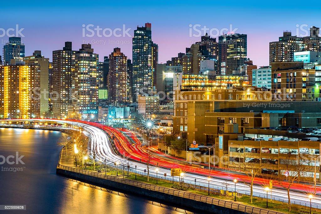 East Harlem neighborhood skyline stock photo