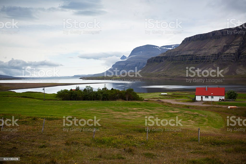 East Iceland Nature Fjord Landscape stock photo