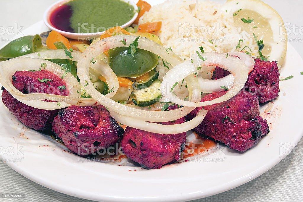 East Indian Lamb Kebab with Rice Closeup royalty-free stock photo