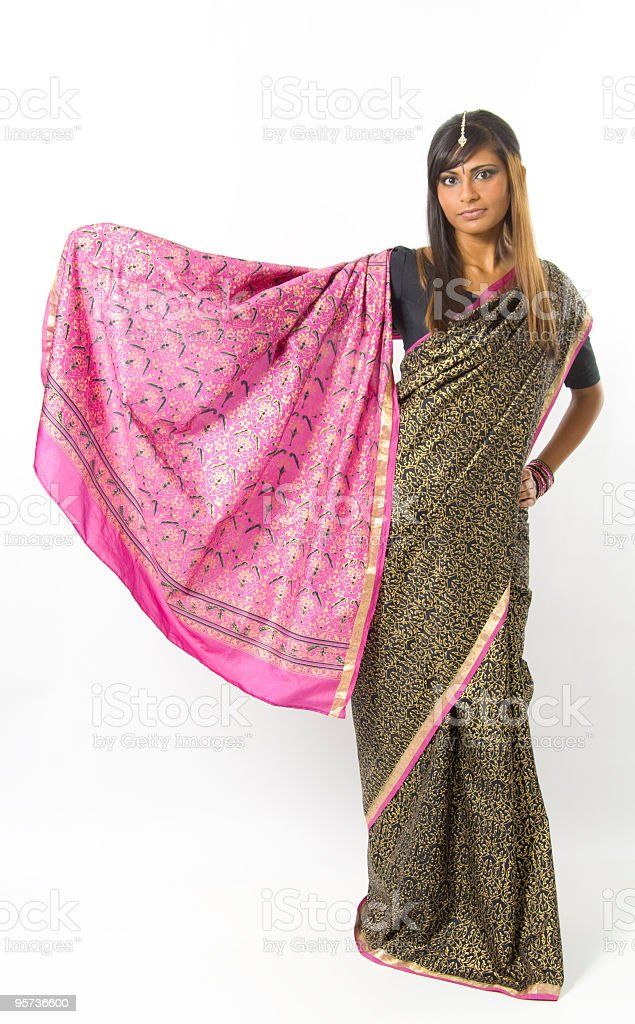 East Indian Woman Wearing a Saree royalty-free stock photo
