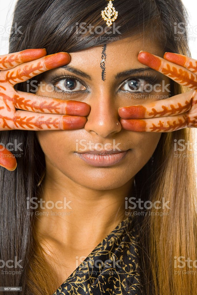 East Indian Woman with Henna on her hands royalty-free stock photo