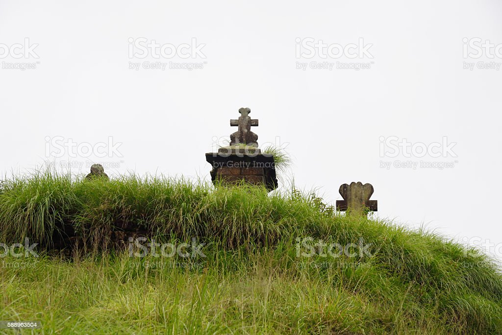 East Khasi Hills, Cherrapunji, rocky graves in hilltop Christian cemetery, stock photo