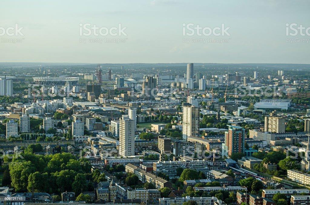 East London aerial view stock photo