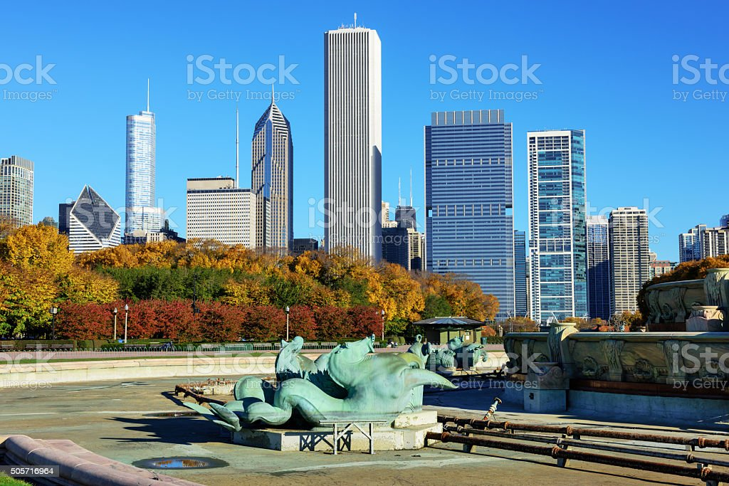 East Loop Chicago skyline from Buckingham Fountain stock photo