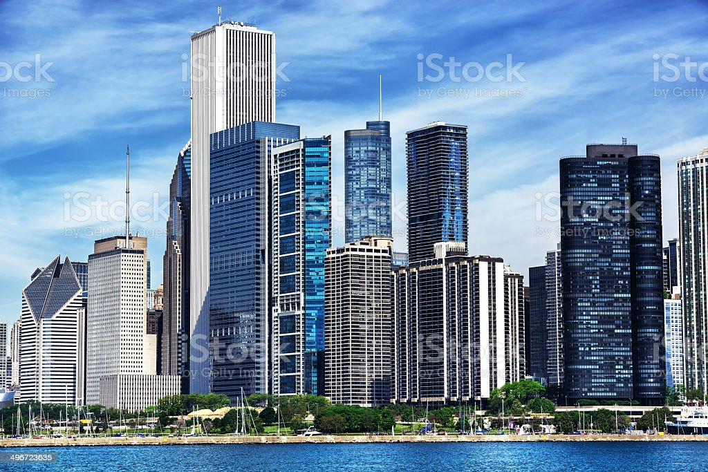 East Loop from Lake Michigan, downtown Chicago stock photo