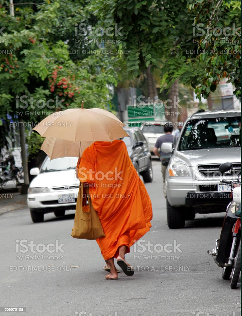 East meets West - Cambodian Monks stock photo