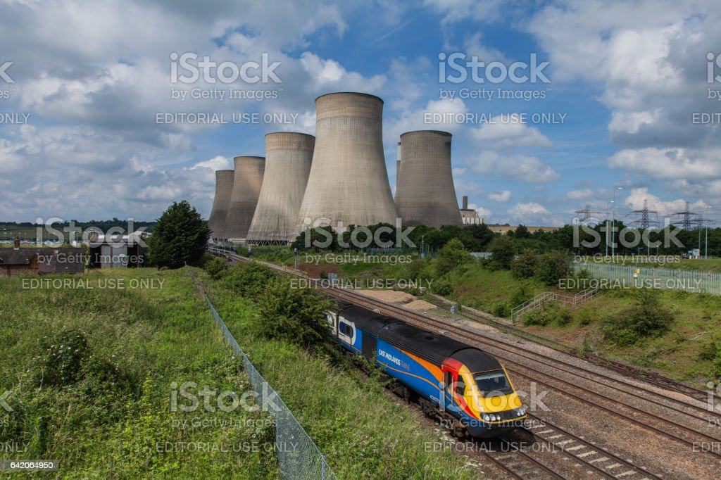East Midlands Parkway Railway Station and Ratcliffe-on-Soar Power Station stock photo