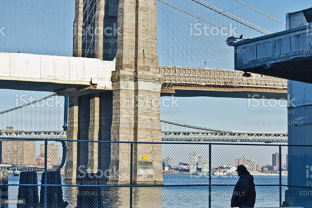 East River Bikeway, Brooklyn and Manhattan Bridges on Background stock photo