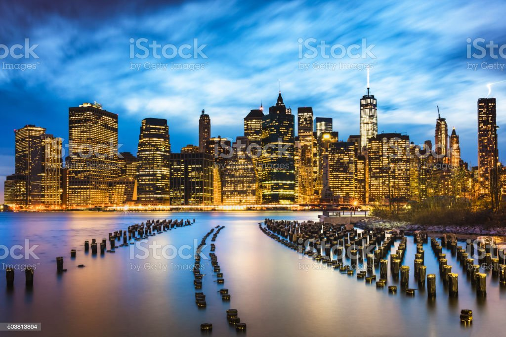 East River from Brooklyn of New York City, USA. stock photo