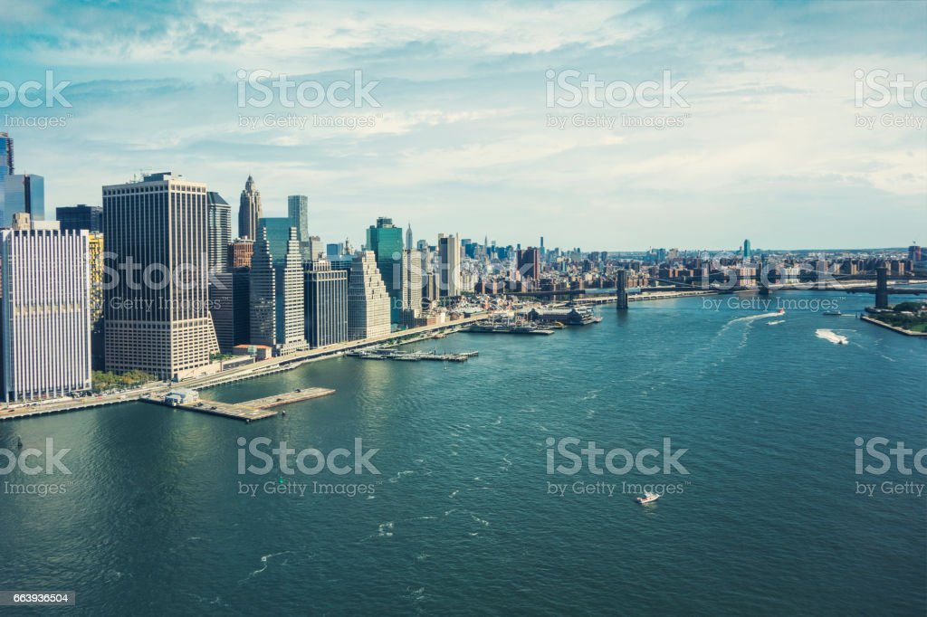 east river landscape from helicopter in New Yrok City stock photo