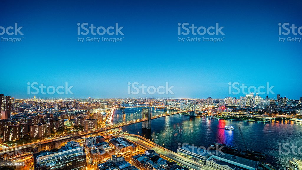 East River NYC aerial view of Brooklyn and Manhattan bridges stock photo