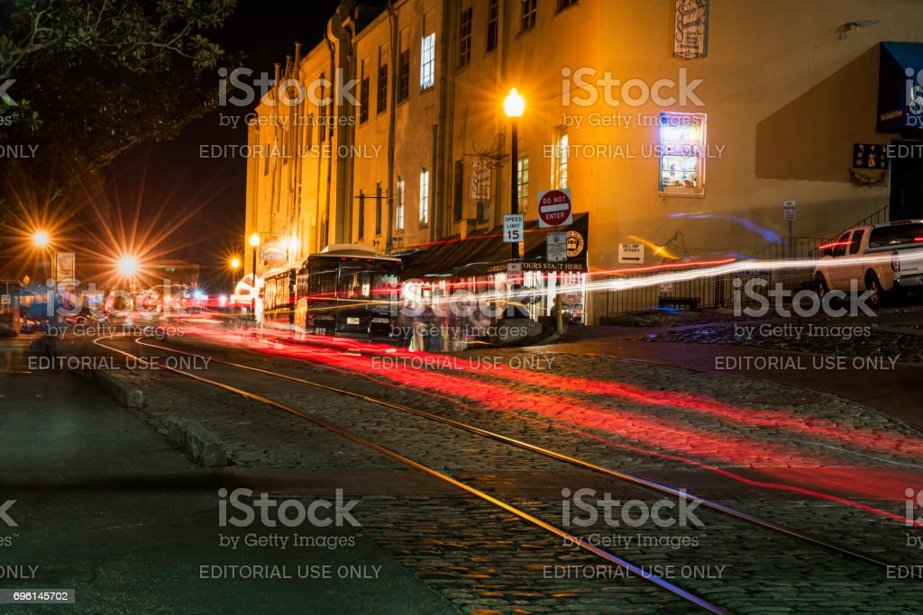 East River Street in Twilight stock photo