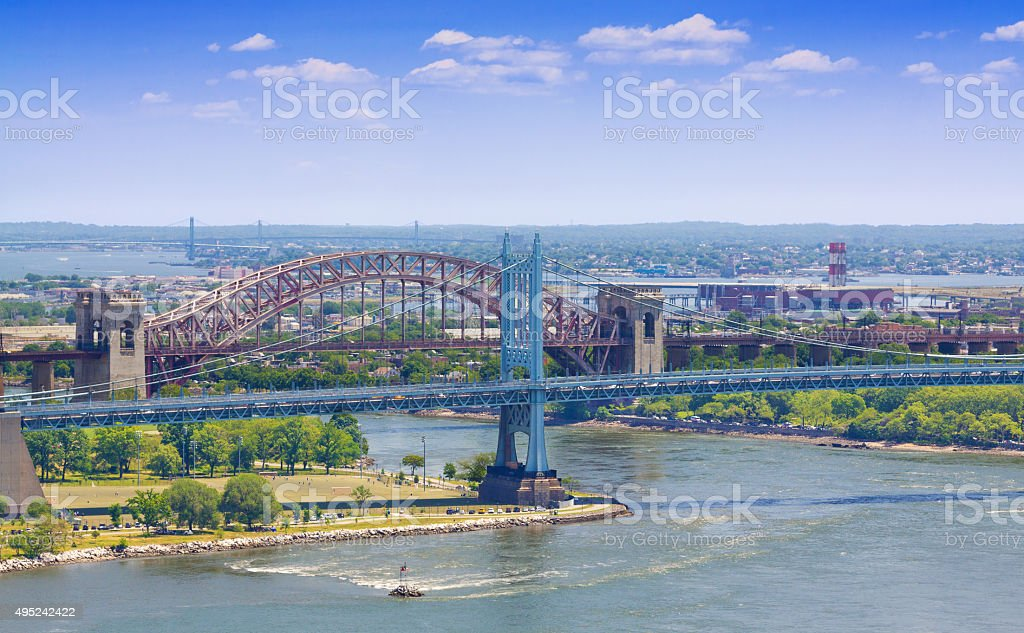 East River, Triborough (RFK) Bridge, Hell Gate Bridge, New York. stock photo