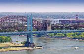 East River, Triborough (RFK) Bridge, Hell Gate Bridge, New York.