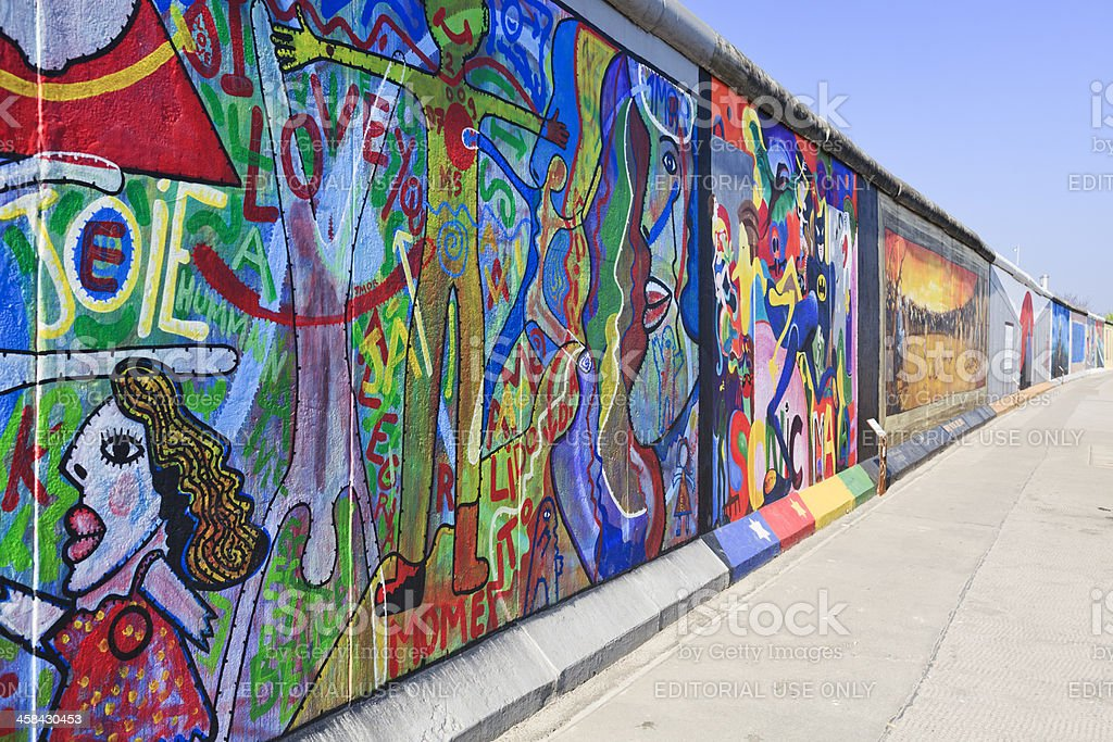 East Side Gallery wall of Berlin Germany stock photo