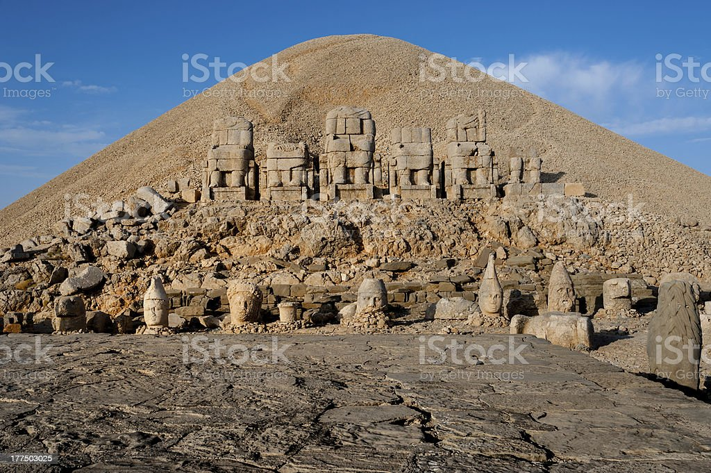 East terrace Mount Nemrut. stock photo