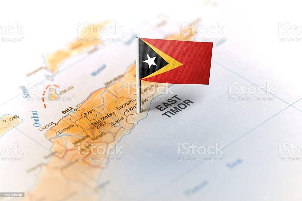 East Timor pinned on the map with flag stock photo
