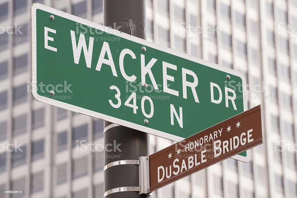 East Wacker and Dusable Bridge stock photo