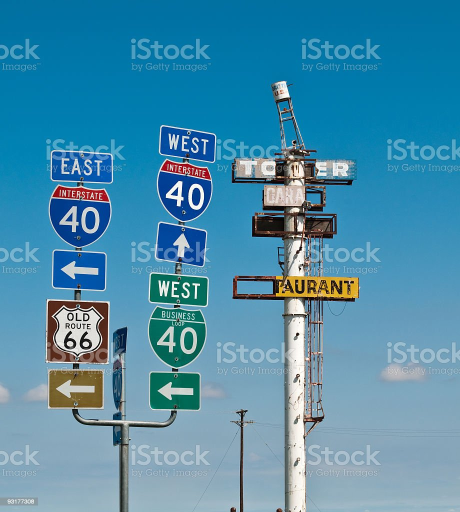 East West 40, Old Route 66 road signs, Britten USA royalty-free stock photo