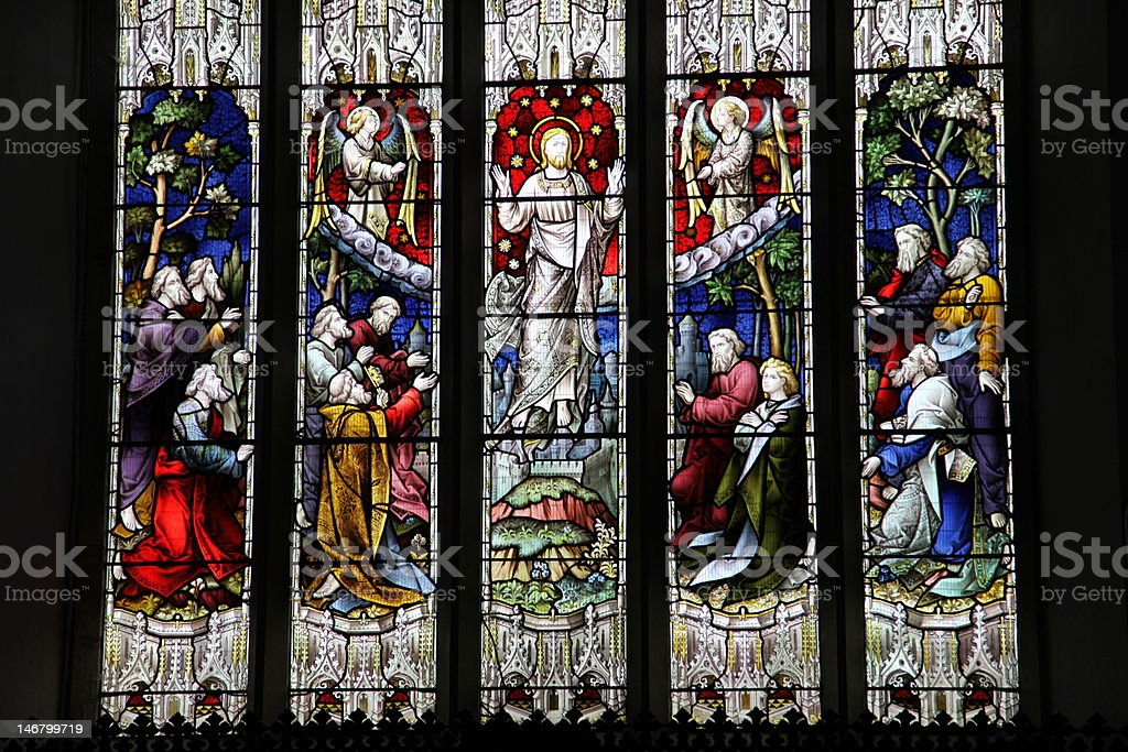 east window depicting 'The Ascension' late 19th century stock photo