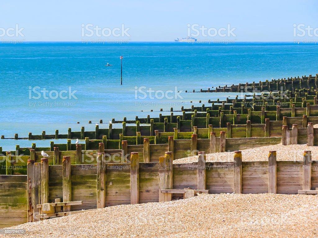 Eastbourne beach at English chanel, United Kingdom stock photo