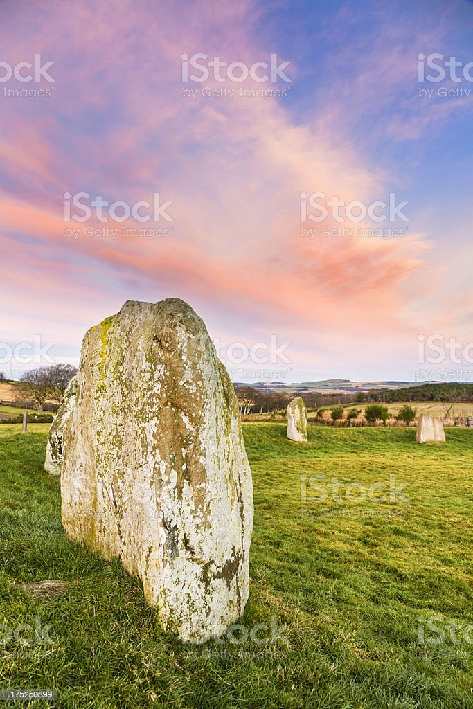 Easter Aquhorthies Stone Circle stock photo