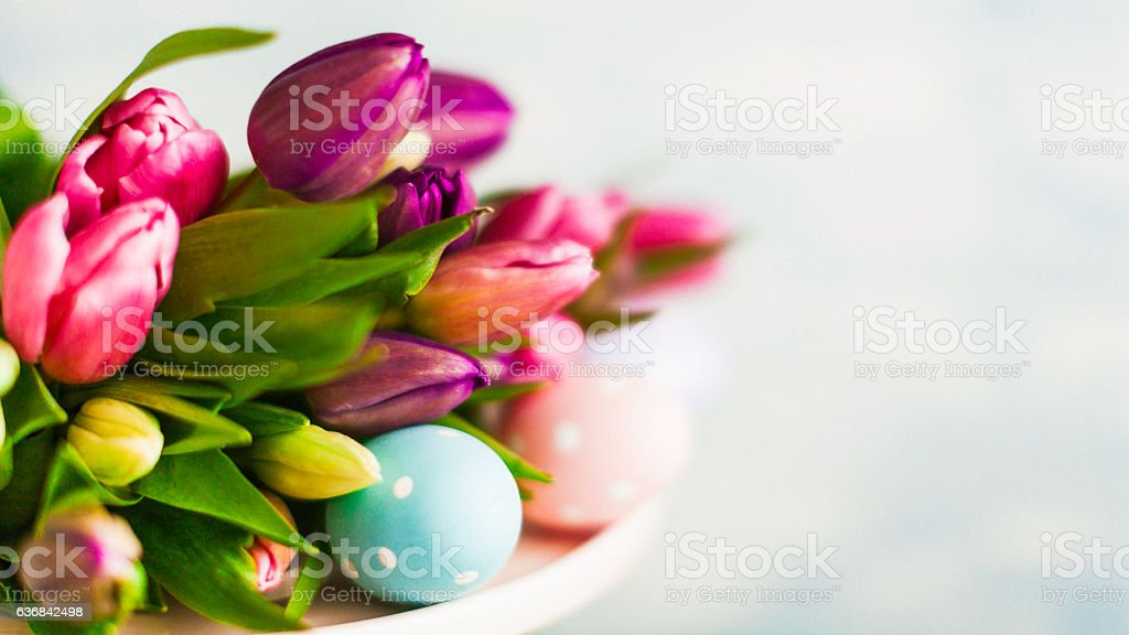 Easter arrangement with fresh tulips and Easter eggs stock photo