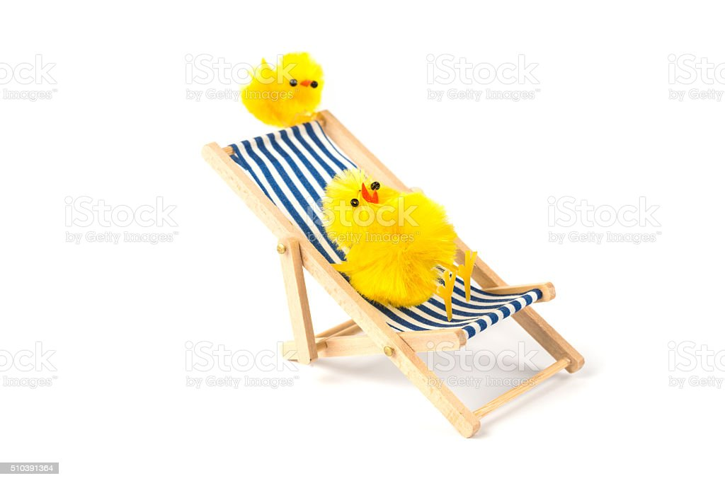 easter baby chicken sitting in deck chair stock photo