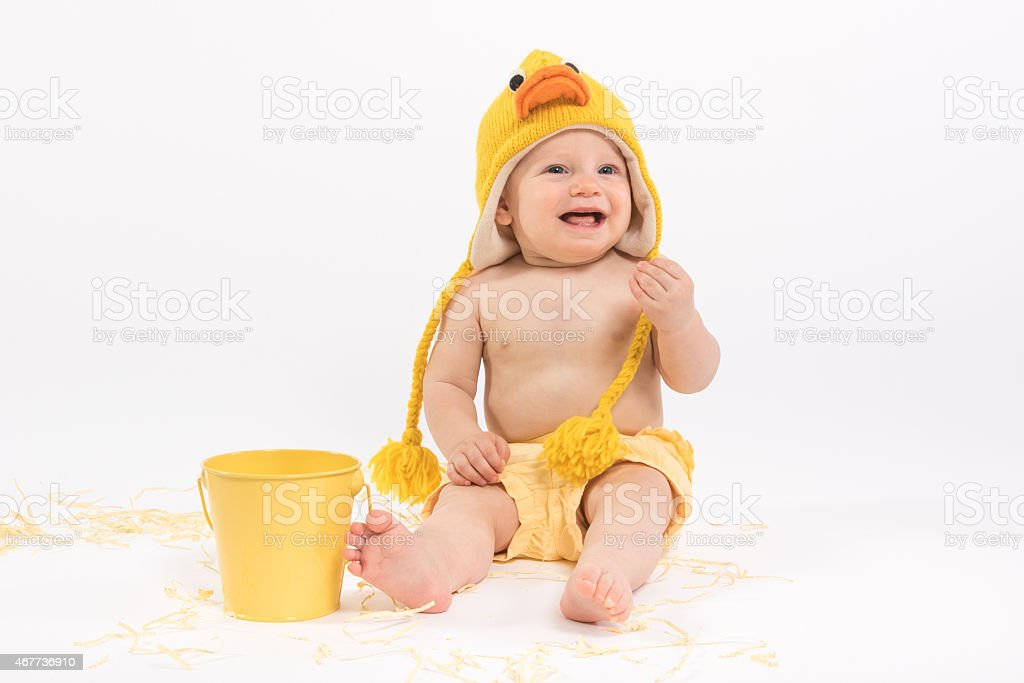 Easter Baby in Duck Costume stock photo
