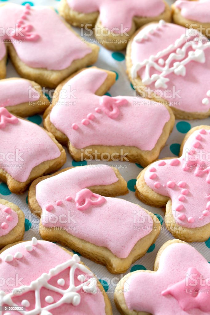 Easter background. Various Easter biscuits: rabbit, flower, butterfly, egg. Easter recipe. stock photo