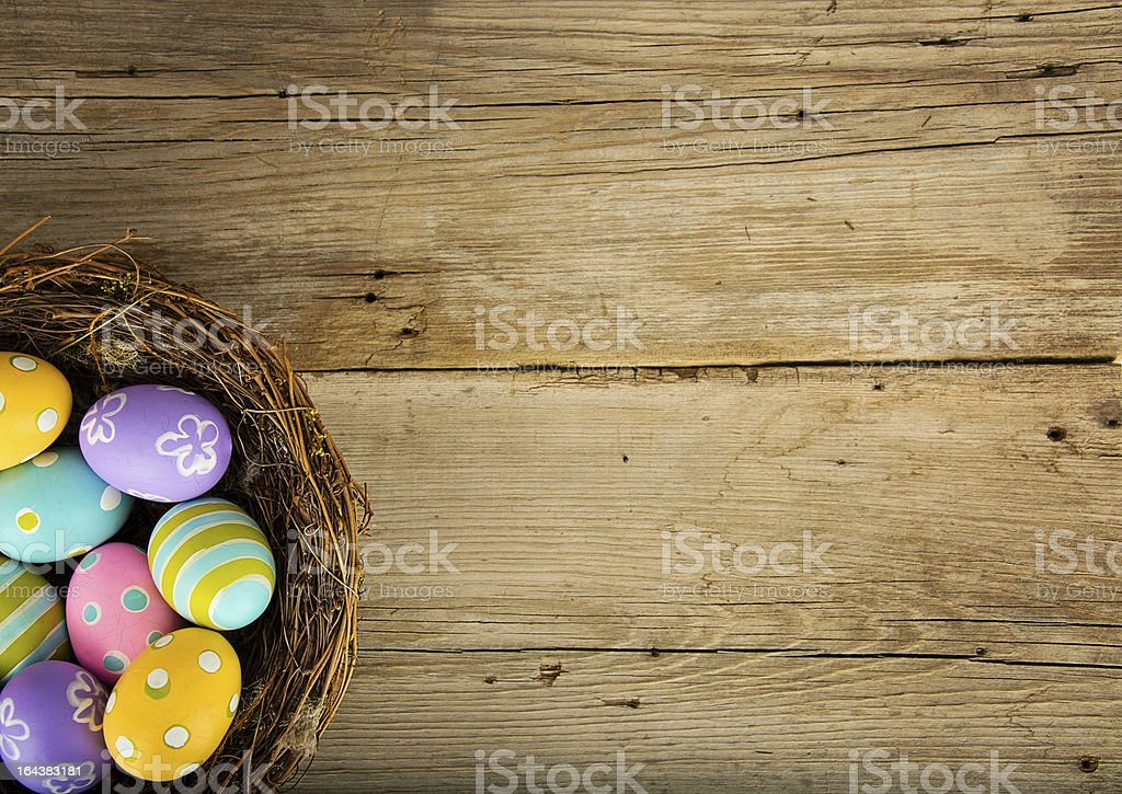 Easter Background with Colored Eggs stock photo