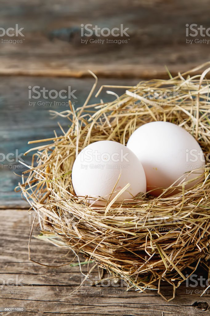 Easter background with Easter eggs. copy space. stock photo