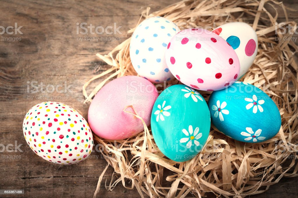 Easter background with eggs and copyspace. Happy Easter! stock photo