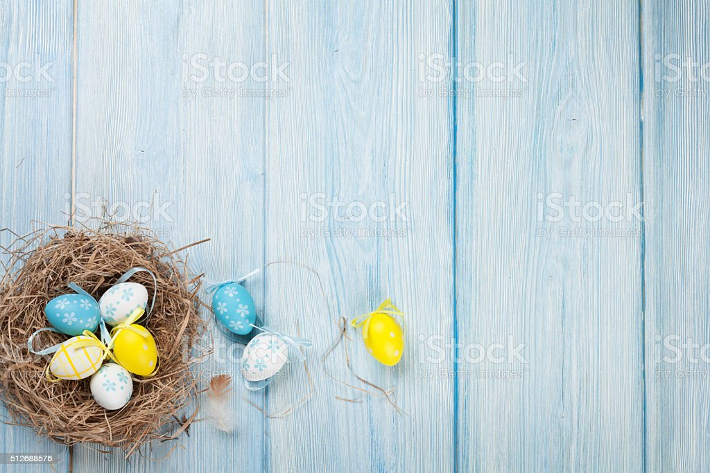 Easter background with eggs in nest stock photo