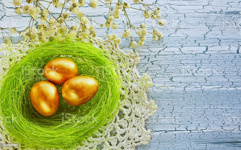 Easter background with golden egg stock photo