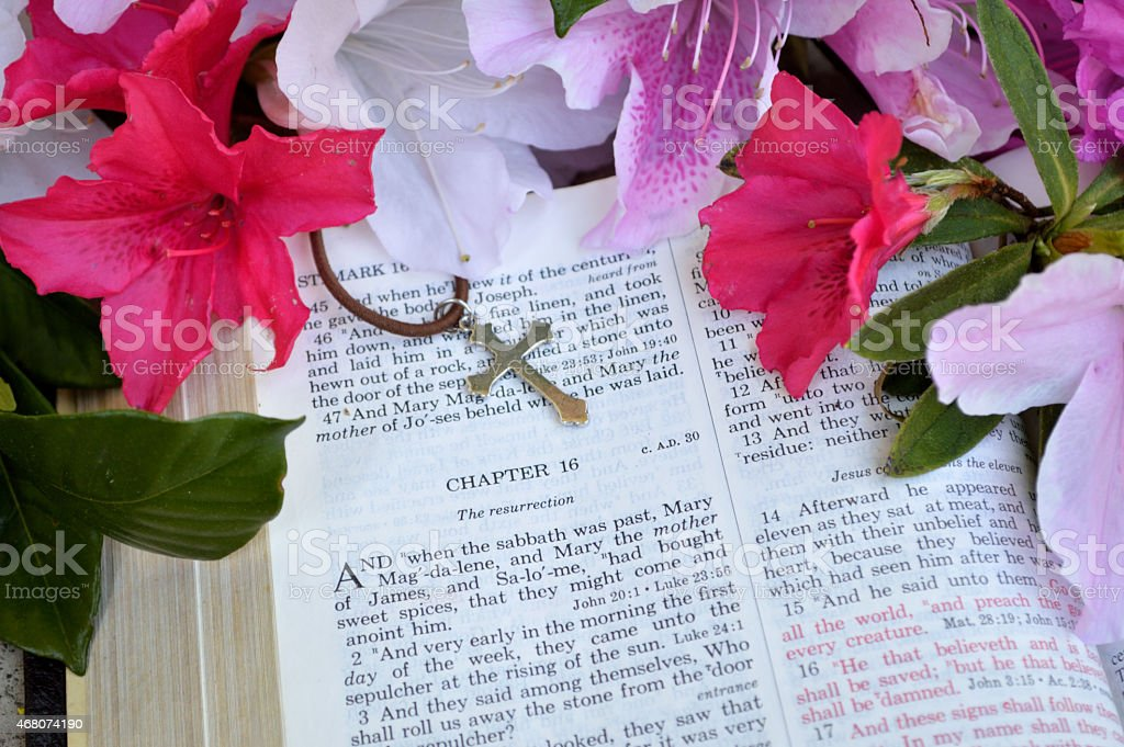 Easter background with gospel and cross stock photo