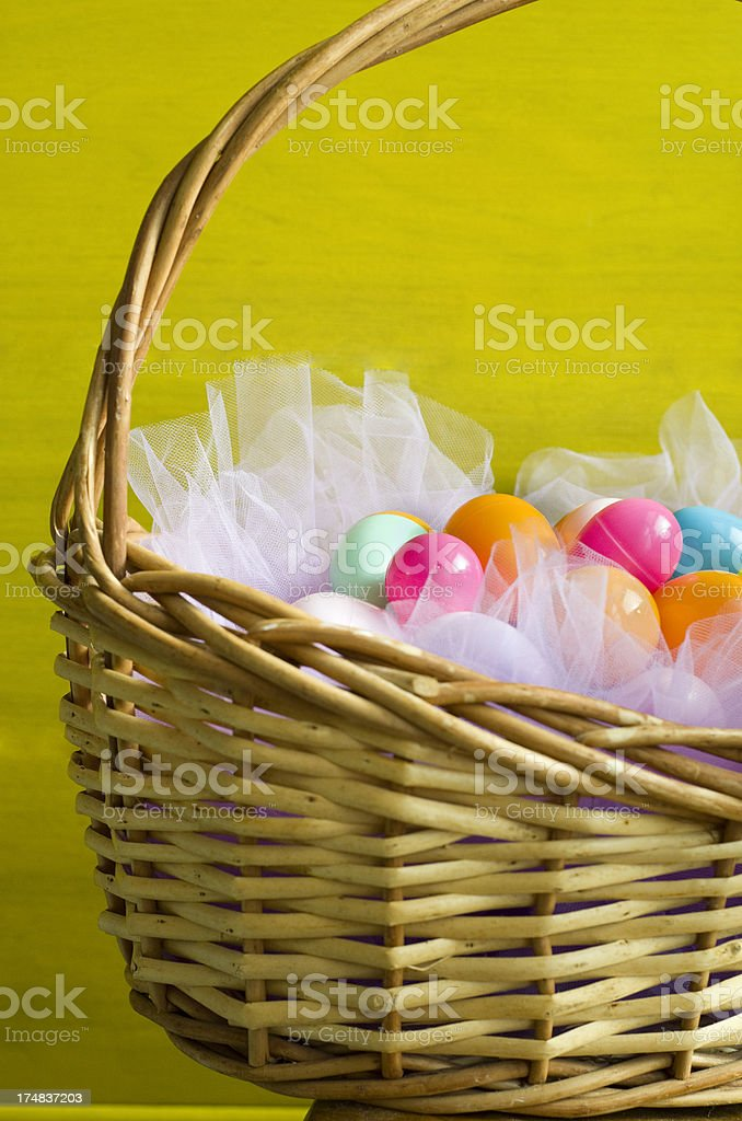 Easter basket against yellow background royalty-free stock photo